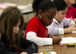 School children writing